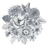 Enrruelle con las flores, las hojas y la mariposa dibujadas mano ilustración del vector