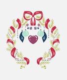 Enrruelle la tarjeta de la decoración del elemento del diseño del modelo del damasco del vector de la Navidad ilustración del vector