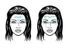 Enrugamentos na cara de uma mulher ilustração stock
