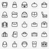 Ensaca ícones ilustração stock