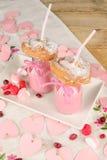 Ensaimada and strawberry milkshake Royalty Free Stock Photo
