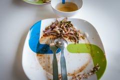 Ensalada asada a la parrilla cortada sobras del cerdo Alimento tailandés - fritada #6 del Stir Fotografía de archivo
