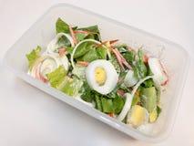 Ensalada César con los huevos, la zanahoria, el tomate, las verduras de la costa, y la cebolla hervidos en una caja Fotos de archivo libres de regalías