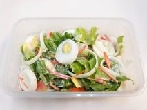 Ensalada César con los huevos, la zanahoria, el tomate, las verduras de la costa, y la cebolla hervidos en una caja Fotos de archivo