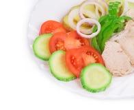 Ensalada caliente de la carne con las verduras Fotos de archivo
