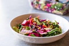 Ensalada colorida hecha en casa fresca con la col, la remolacha, la zanahoria y Rocket púrpuras fotos de archivo