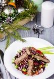 Ensalada con carne de vaca y arroz negro Imagen de archivo libre de regalías