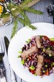 Ensalada con carne de vaca y arroz negro Fotos de archivo
