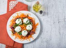 Ensalada con la bola de la zanahoria, de la col roja, del perejil y del queso Fotografía de archivo