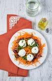Ensalada con la bola de la zanahoria, de la col roja, del perejil y del queso Imagen de archivo libre de regalías