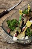 Ensalada con las berenjenas y el tomatoe Imagen de archivo libre de regalías