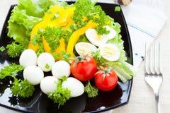 Ensalada con las verduras frescas y los huevos de codornices imágenes de archivo libres de regalías