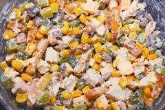 ensalada con las verduras y la carne en un cuenco con la mayonesa, delici Fotos de archivo
