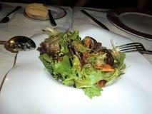 Ensalada con los lanzamientos blandos de la lechuga con los rasguños de la zanahoria foto de archivo