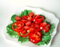 Ensalada con los tomates de cereza y la pimienta roja Imagen de archivo