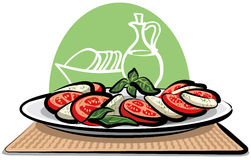 Ensalada con los tomates y la mozarela Fotografía de archivo libre de regalías