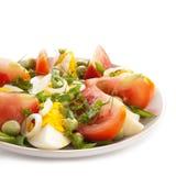 Ensalada con los tomates y los huevos Fotografía de archivo libre de regalías