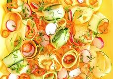 Ensalada cruda de la comida con las zanahorias y el pepino Fotos de archivo