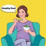 Ensalada de Art Happy Pregnant Woman Eating del estallido en casa Comida sana, concepto de la maternidad stock de ilustración