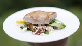 Ensalada de atún adobada asada a la parilla de Ahi con el cangrejo Fotografía de archivo