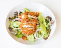 Ensalada de Fried Chicken con los tomates, el pepino y la cebolla Foto de archivo libre de regalías