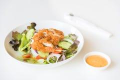 Ensalada de Fried Chicken con los tomates, el pepino y la cebolla Fotografía de archivo libre de regalías