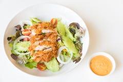 Ensalada de Fried Chicken con los tomates, el pepino y la cebolla Imagen de archivo