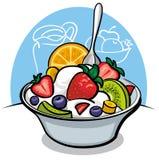 Ensalada de fruta con el yogur y la fresa Fotos de archivo