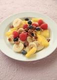 Ensalada de fruta de las bayas, del melón y del plátano Foto de archivo libre de regalías