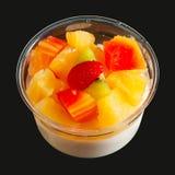 Ensalada de fruta del queso de soja del agar fotos de archivo