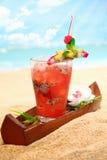 Ensalada de fruta tropical fría en una playa imagen de archivo libre de regalías