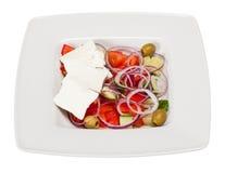 Ensalada de Grecia con el tomate, pepino, pimienta dulce, aceitunas verdes, Fotografía de archivo