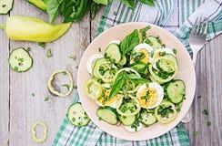 Ensalada de huevos y de pepinos con las cebollas verdes y la albahaca foto de archivo