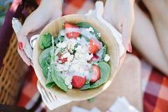 Ensalada de la fresa en la comida campestre de madera del cuenco Imagenes de archivo