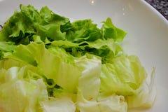 Ensalada de la lechuga en el cierre blanco del plato encima de la visión foto de archivo