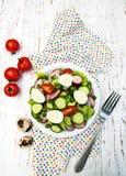 Ensalada de la primavera con los huevos, el tomate, los pepinos y el rábano Imagen de archivo libre de regalías