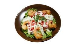 Ensalada de las verduras, camarón frito Imagen de archivo