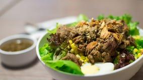 Ensalada de las verduras con carne de vaca cortada imagen de archivo