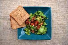 Ensalada de las verduras frescas, comida sana, tomates y hojas de la ensalada Ensalada de pollo sana con las verduras frescas Imagen de archivo