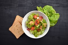 Ensalada de las verduras frescas, comida sana, tomates y hojas de la ensalada Ensalada de pollo sana con las verduras frescas Fotografía de archivo libre de regalías