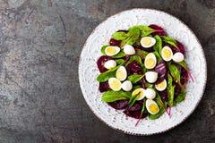Ensalada de las verduras frescas con la remolacha, las hojas de la remolacha forrajera, las nueces y los huevos de codornices her fotografía de archivo