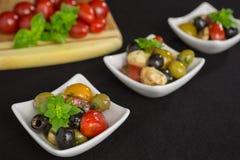 Ensalada de los Antipasti con los tomates y las aceitunas Fotografía de archivo libre de regalías