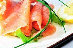 Ensalada de los salmones de la frescura Imagen de archivo libre de regalías