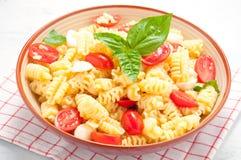 Ensalada de pasta con los tomates, las aceitunas, la mozzarella y la albahaca Italia Imagen de archivo