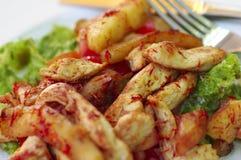 Ensalada de pollo caliente con lechuga, manzanas y tomates. Wi sazonados Fotografía de archivo libre de regalías