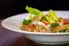 Ensalada de pollo con los tomates de las verduras de hoja, del cardo, de los huevos, del bulgur y de cereza Imágenes de archivo libres de regalías