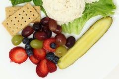 Ensalada de pollo de la galleta de la salmuera de la placa del almuerzo de la fruta fresca fotografía de archivo libre de regalías