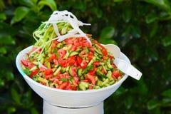 Ensalada de tomates y de pepinos con las cebollas y las hierbas Fotos de archivo
