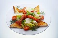 Ensalada del camarón del parmesano Fotos de archivo libres de regalías