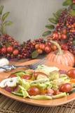 Ensalada del jardín con la configuración del otoño imagen de archivo libre de regalías